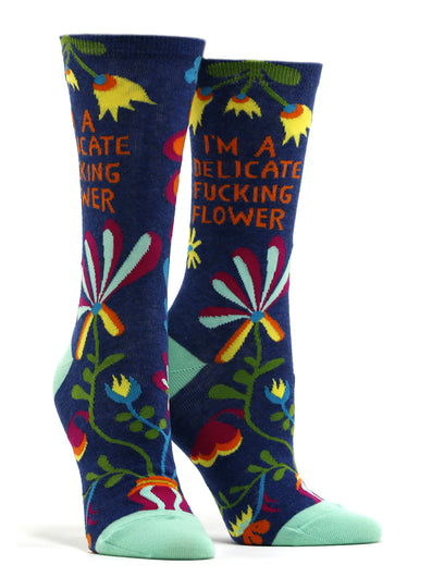 Women's I'm A Delicate Fucking Flower Socks
