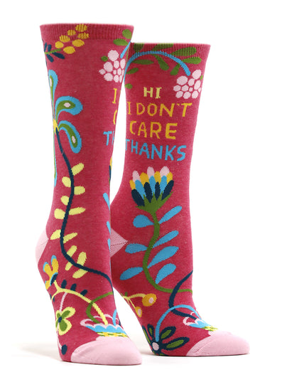 Women's Hi, I Don't Care, Thanks Socks