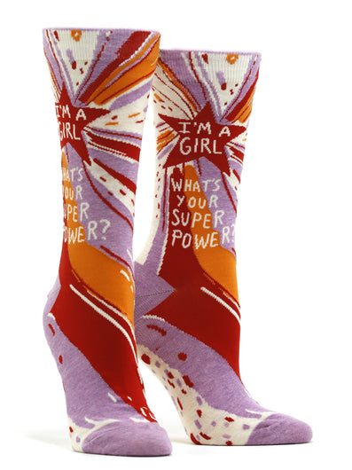 Women's I'm A Girl, What's Your Superpower? Socks