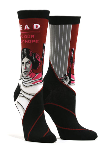 Women's Princess Leia Star Wars Read Socks