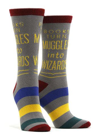 Women's Books Turn Muggles Into Wizards Socks