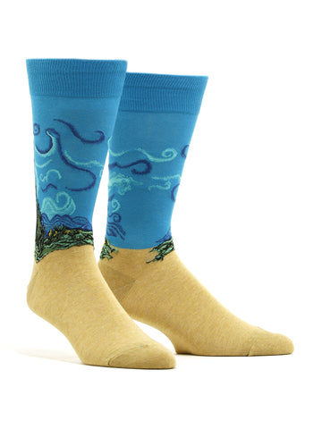 Men's Van Gogh - Wheat Field With Cypresses Socks