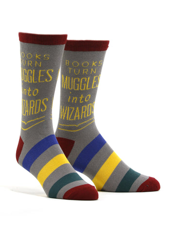 Men's Books Turn Muggles Into Wizards Socks