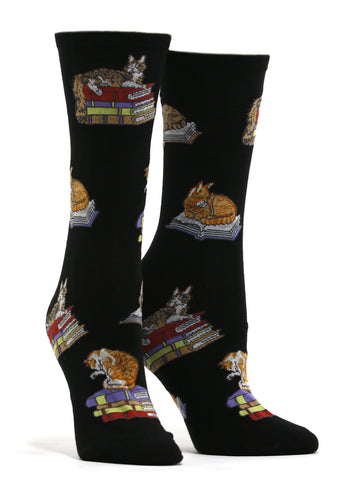 Women's Cats On Books Socks