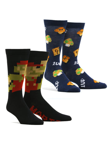 Men's Nintendo Super Mario 1UP 2 Pack Socks