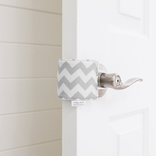 The Original Cushy Closer Door Cushion- Chandler Gray | Door Latch Cover- Baby Safety & Quiet Doors