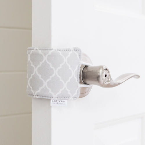 The Original Cushy Closer Door Cushion- Charlotte Gray | Door Latch Cover-Baby Safety & Quiet Doors