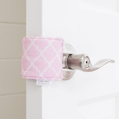 The Original Cushy Closer Door Cushion- Charlotte Pink| Door Latch Cover- Baby Safety & Quiet Doors