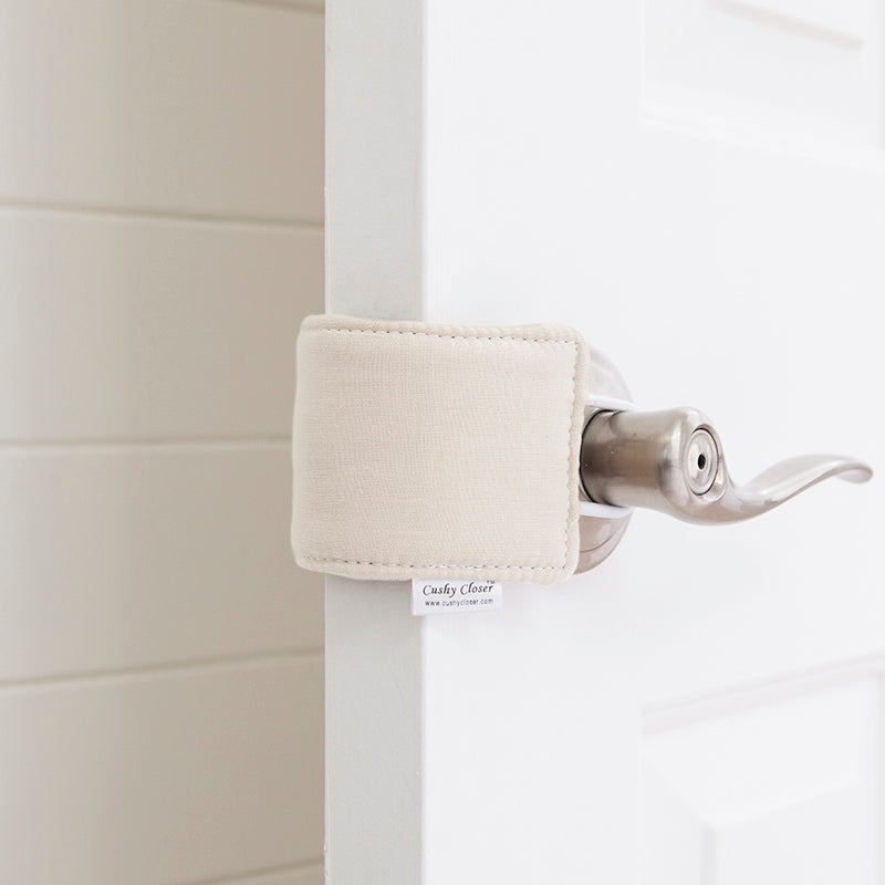 The Original Cushy Closer Door Cushion- Natural | No More Noisy Doors! | Door Latch Cover- Baby Safety for Quiet Doors
