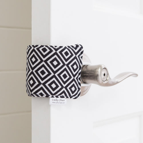 The Original Cushy Closer Door Cushion- Quinn Diamond | Door Latch Cover-Baby Safety & Quiet Doors