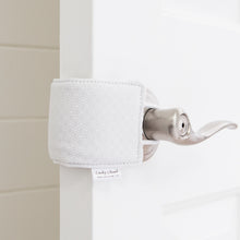 The Original Cushy Closer Door Cushion- White Dot | Door Latch Cover- Baby Safety & Quiet Doors
