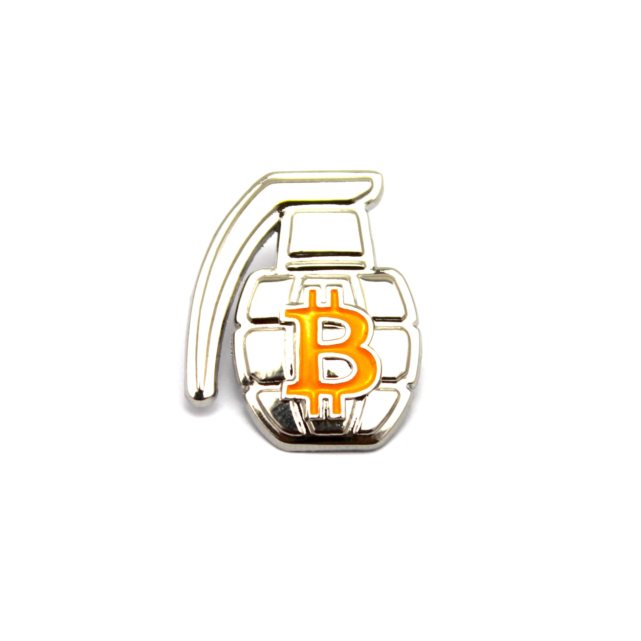 The BTC Grenade Lapel Pin in Silver