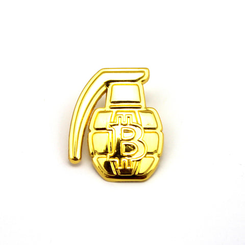 The BTC Grenade Lapel Pin in Gold