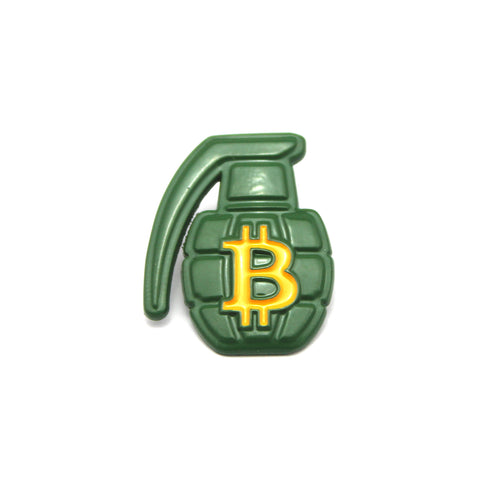 The BTC Grenade Lapel Pin in Green