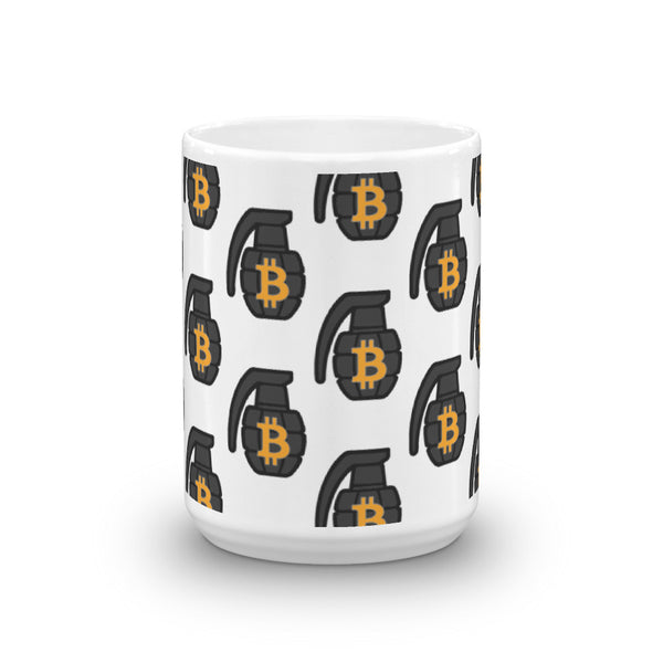 The White BTC Grenade Mug