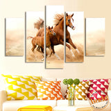 5 Piece Wall Art Mom with Kid Horse Painting Canvas for Living Room Unframed