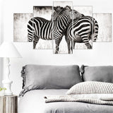 5pcs Mordern Canvas Painting Zebra for Living Room Unframed