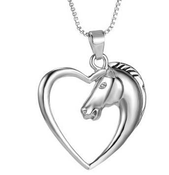 Horse Heart Pendant Necklace For Women, Mom or Best Friends Gift