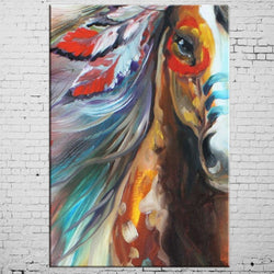 Modern Hand Painted Indian Horse Oil Paints On Canvas Handmade on Canvas Unframed