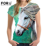 Woman Horse Casual T-shirt Summer Short Sleeved
