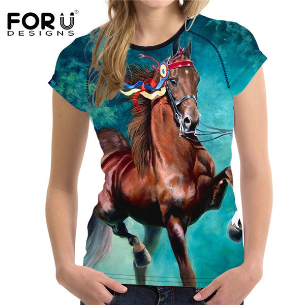Women Summer Horse T-shirt O NecK Short Sleeved