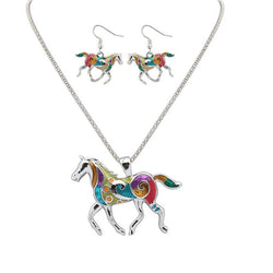 Rainbow Horse Necklace & Earrings Set