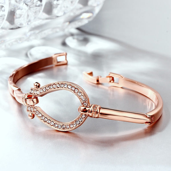 Pink Gold Horse Shoes Bracelet