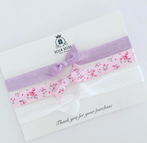 FOE Headband Set - Lilac, Pink Floral & White Lace