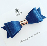 Large Blue & Rose Gold Felt Bow Headband