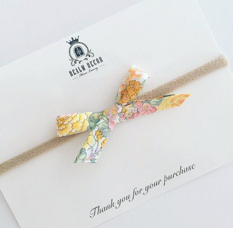 Liberty Love Bow Headband - Yellow Floral