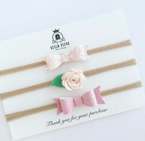 Mini Bows and Blooms Set - Pink