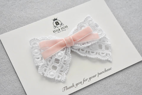 White Lace & Pink Velvet Bow - Headband or Clip