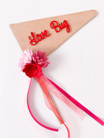 Love Bug - Valentines Wooden Red Acrylic Font Flag