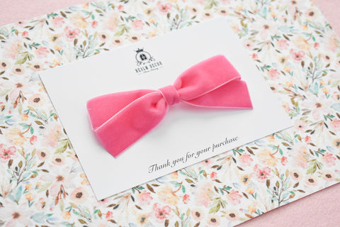 Luxe Pink Velvet Ribbon Bow - Headband or Clip