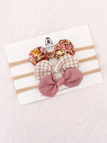 Blush Floral Fabric Bow Trio Set - Headbands