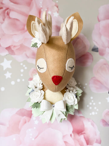 Reindeer Head Felt Flower Garland