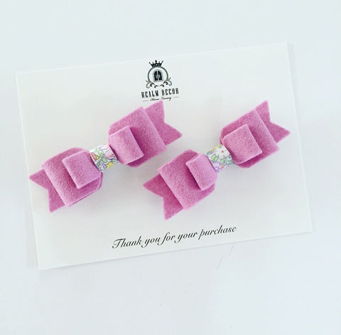 Pigtail Bow Clip Set with Liberty Fabric Centre - Mauve