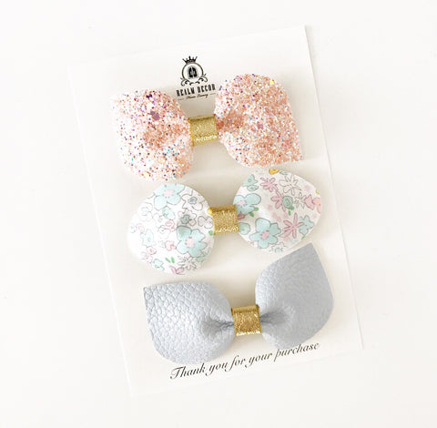Magic Glitter Blooms Bow Trio Set