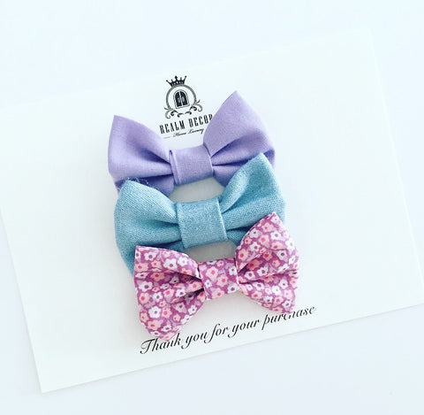 'Sweetie' Bow Set - Denim, Floral & Purple