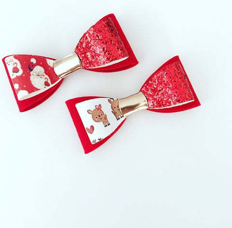 Santa or Rudolf Print Luxe Double Loop Bows