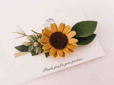 Sunflower Headband or Clip