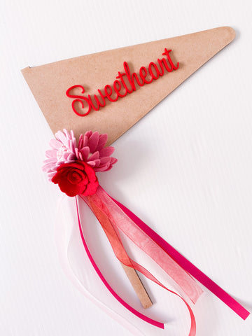 Sweetheart - Valentines Wooden Red Acrylic Font Flag