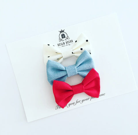 'Sweetie' Bow Set - Denim, Red & Cream with Black Polka Dots