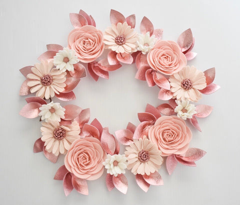 'Rose Gold' Metallic Luxe Felt Flower Garland / Milestone Garland