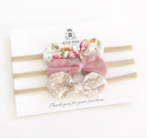 Blush Floral Bow Trio Set - Floral, Dusty Pink & Beige Polka Dots