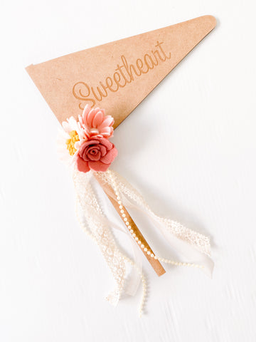 Sweetheart - Vintage Rose Wooden Engraved Font Flag