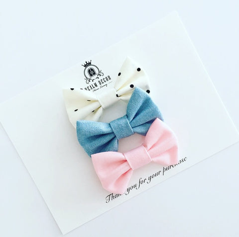 'Sweetie' Bow Set - Denim, Pink & Polka Dots