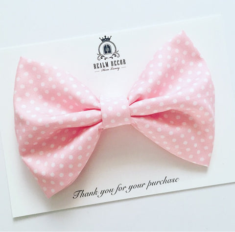 'Lolly' Big Fabric Bow - Light Pink with White Polka Dots