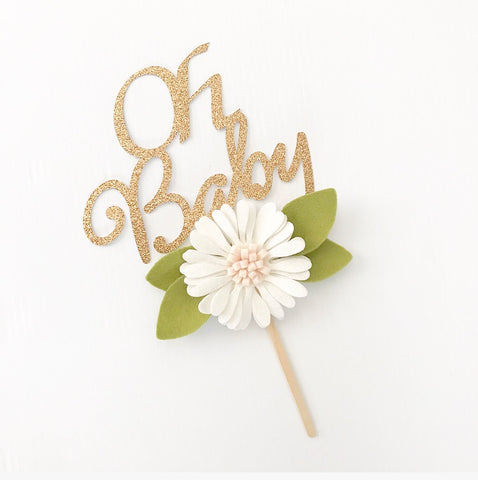 'Oh Baby' Floral Cake Topper