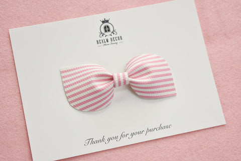 'Pink Candy Stripe' Bow - Headband or Clip